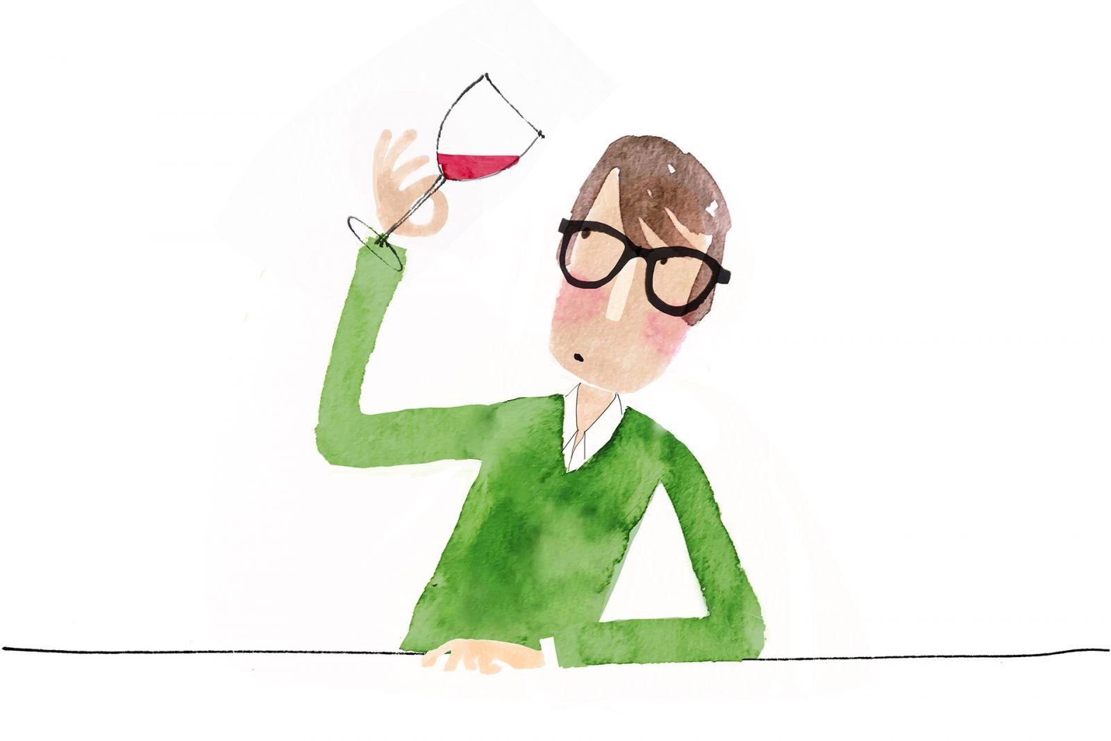 nhìn vào ly rượu