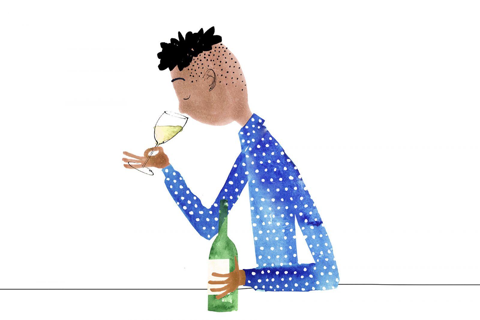 hít hoặc ngửi ly rượu